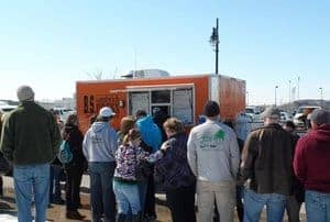 Wichita food trucks at the WaterWalk fountain downtown