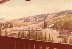 View from 608 balcony looking southeast in 1979, before many of the homes on Forest Road had been built.