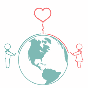 2 people in a long-distance relationship connecting across the world