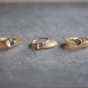 squares silver stacking rings - main