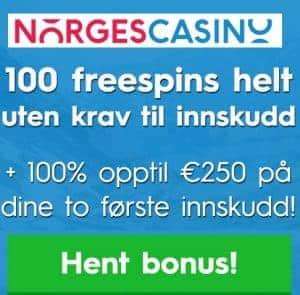 Norges Casino 100 free spins uten innskudd og 100% opptil €250 bonus