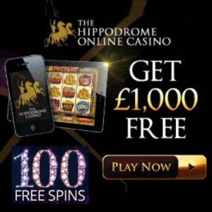 Hippodrome Casino - 25 FS no deposit + 75 gratis spins + £1000 bonus