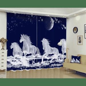 Vliegende witte paard nacht 3D gordijn