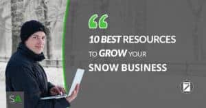snow business owner using laptop