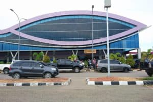 Parking area and arrival area of Domine Eduard Osok Airport Sorong