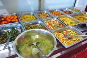 Large selection of changing dishes at all-you-can-eat buffet at Goyang Lidah 2