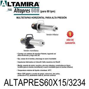 Bomba para ósmosis inversa Altamira ALTAPRES60X15/3234