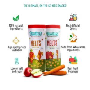 Shop Timios - Wholegrain Non Fried Apple & Cinnamon + Carrot & Cumin Melts Snacks Combo - (2x50g) Online