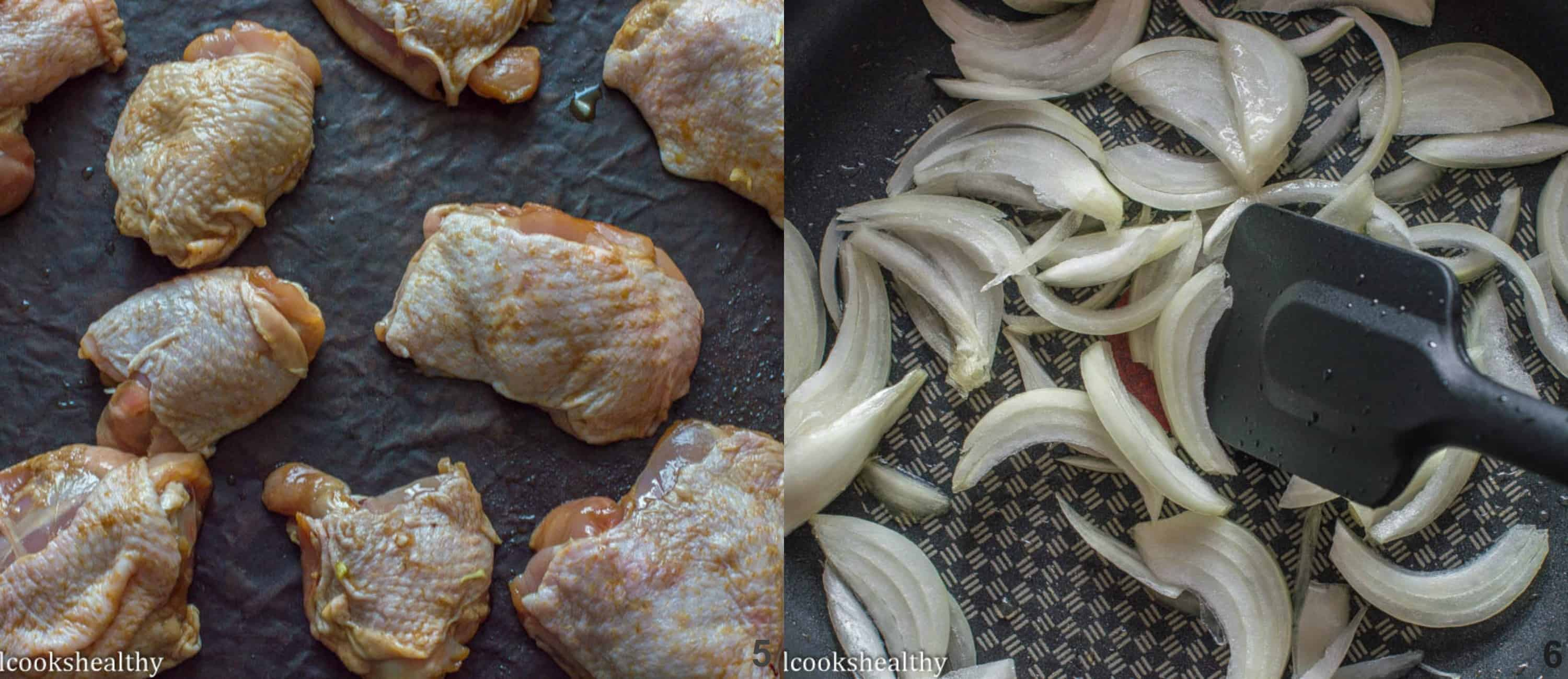 seasoned chicken thighs, onions sauteing in skillet