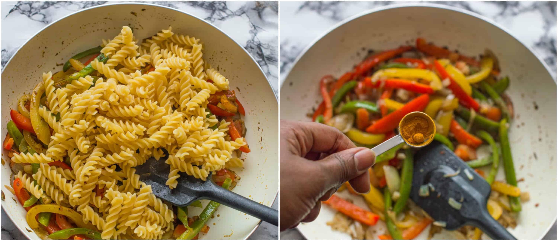 vegan rasta pasta dish