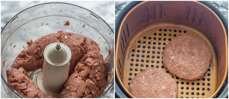 Tasty air fryer hamburgers steps 3-4 beef patties