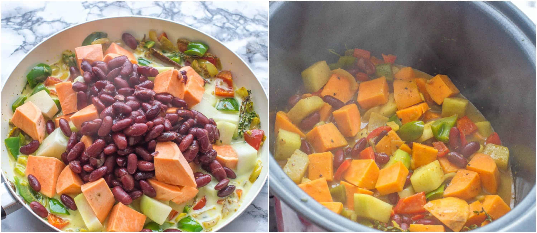 Caribbean potato curry steps 7-8 potatoes and cho cho added