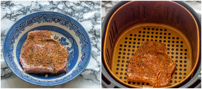 Air fryer steak steps 1-2