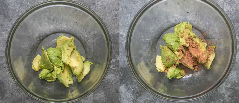 Avocado chocolate mousse steps 1-2