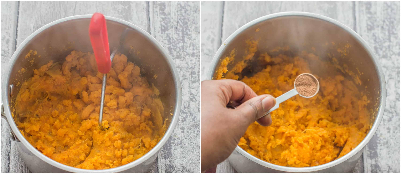using potato masher and adding nutmeg