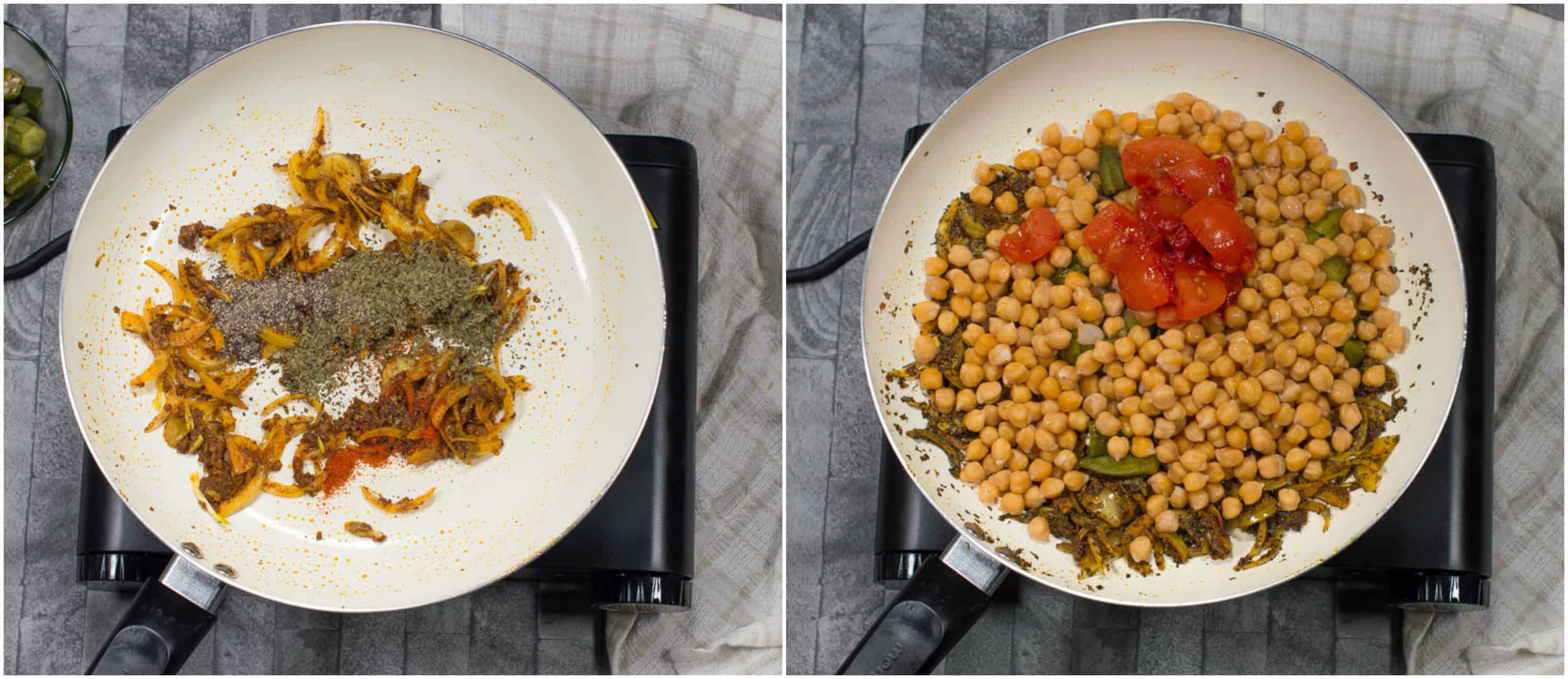 vegan chickpea curry steps 3-4