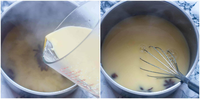 Pouring the cornflour into the saucepan