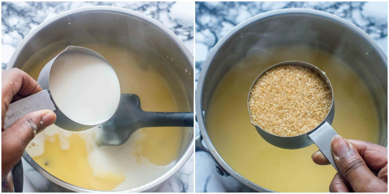 Adding almond milk and coconut sugar