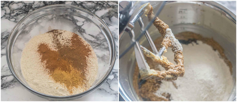 adding the flour to the mixer