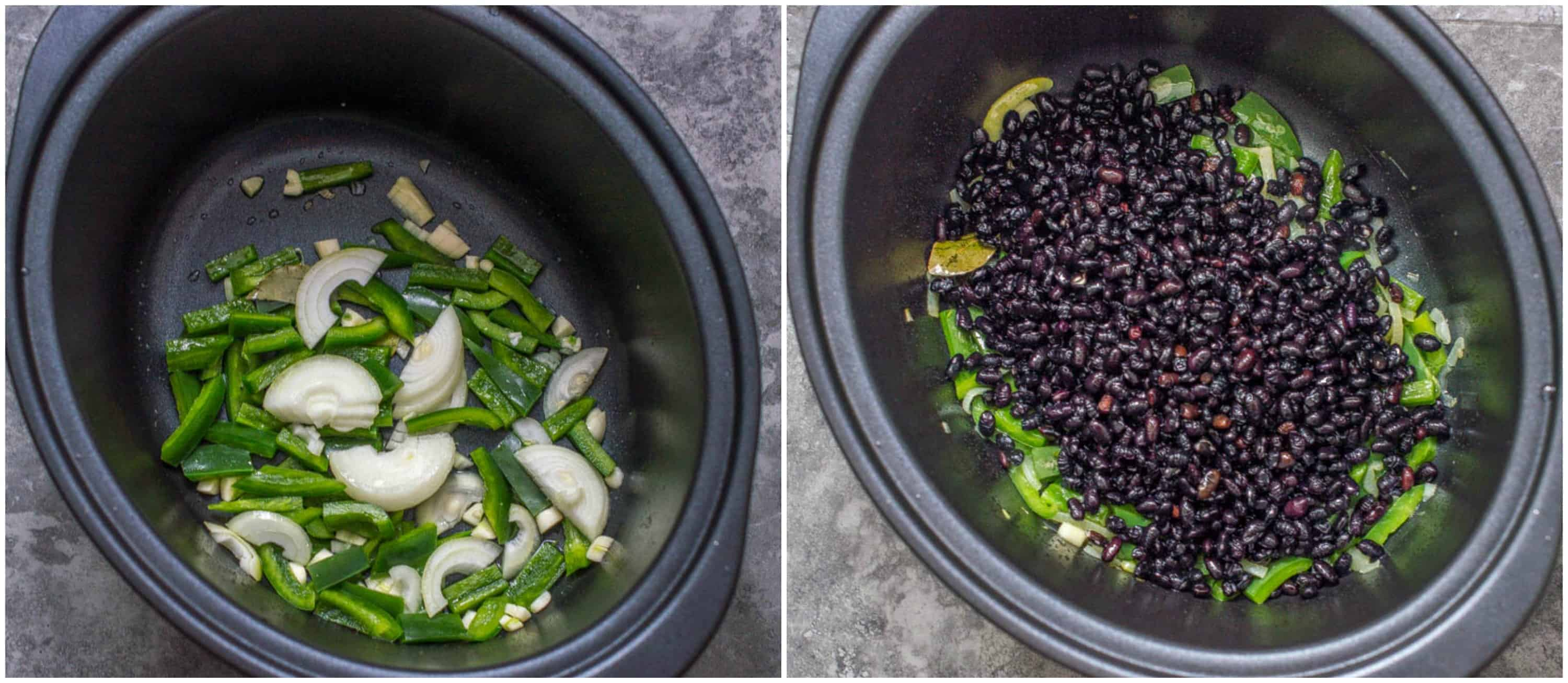 slow cooker black beans steps 3-4 saute the aromatics