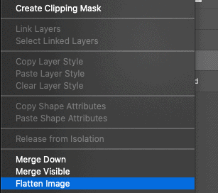 Photoshop menu with flatten image selected