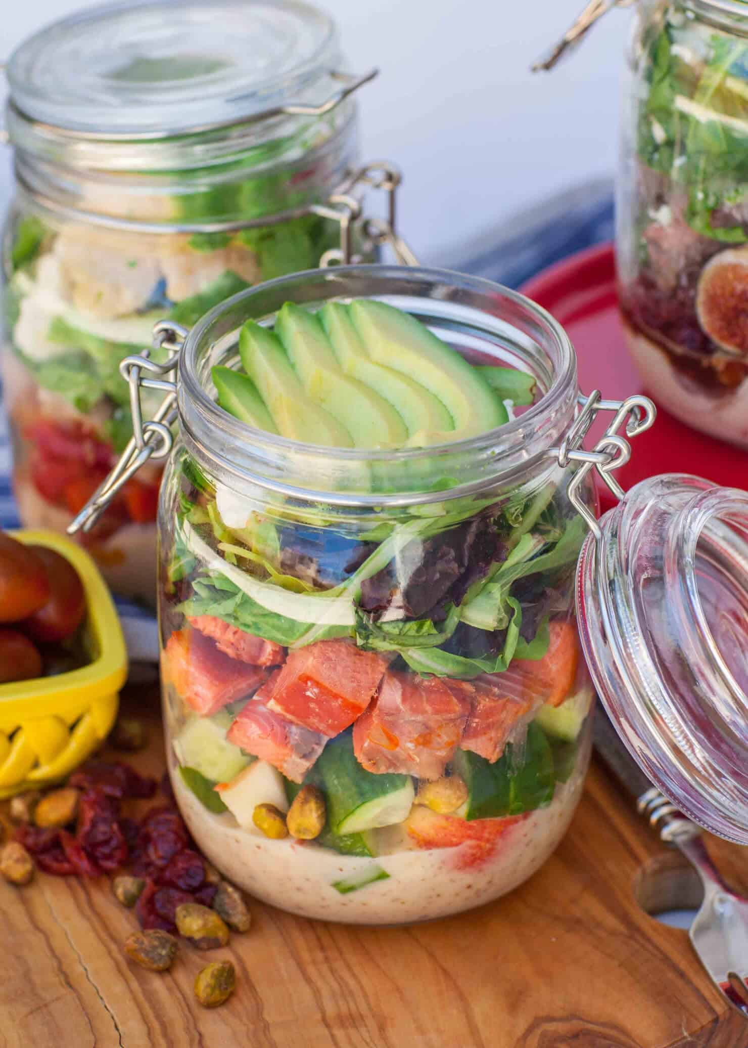 salmon salad in mason jar