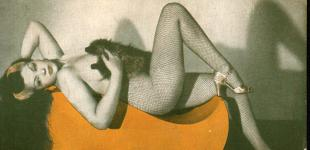 Black and white photo of burlesque dancer Zorita, nude save high heels and a corset held against her chest, laying on a teardrop-shaped settee which has been colored orange over the original image.