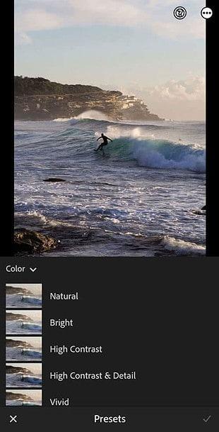 Lightroom mobile presets screen