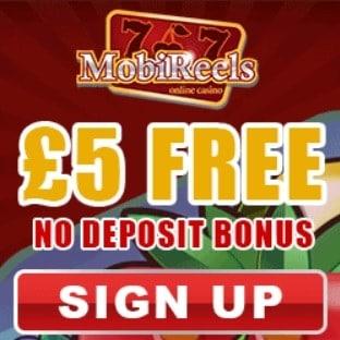 Mobireels Casino | £5 free cash + 50 free spins + 350% bonus