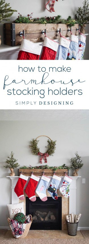 Christmas Stocking Hooks For Mantle.How To Make Farmhouse Stocking Holders For Your Mantle
