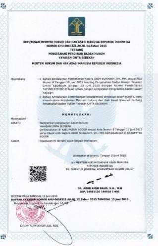 2. Surat Keputusan Pengesahan Badan Hukum