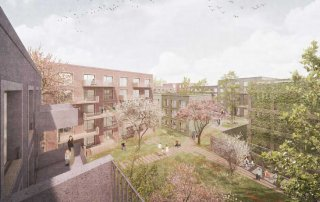 Bild: VisualisierungBlick in den grünen Gartenhof, Lagarde-Kaserne Bamberg, (c) Knoop+Rödl, Nadine Kuhn