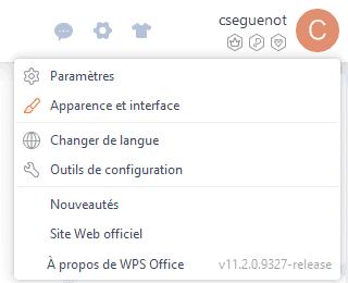 Menu des paramètres globaux de WPS Office
