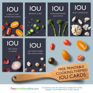 Food Themed printable iou vouchers