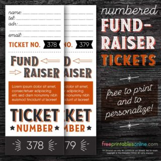 Numbered Fundraising Ticket Template