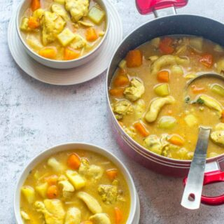Bowls of chicken soup