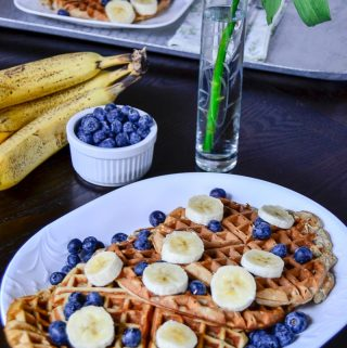 Pamper your sweetheart with breakfast in bed this Valentine's Day! On the menu: Banana Waffles with fresh blueberries, sliced bananas, and real maple syrup.