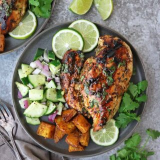 This Cilantro Lime Chicken packs a deliciously fresh, tangy, and garlicky punch that will have your taste-buds singing! This quick and easy grilled Cilantro Lime Chicken is a versatile recipe that will have you coming back for more.