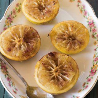 Hot Toddy Baked Grapefruit. Fresh grapefruit baked with rum, honey, brown sugar and cinnamon.