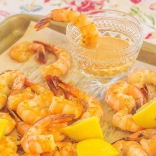 Oven Roasted Gulf Shrimp with Lemon and Comeback Sauce. Oven roasted shrimp are great for appetizers or main course.