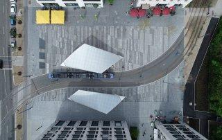 Bild: Blick von Oben auf den Tramplatz, Foto: BESCO GmbH / Thomas Wolf