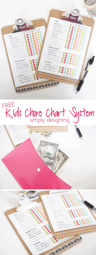 collage of chores for kids on chore chart printable and envelope money system