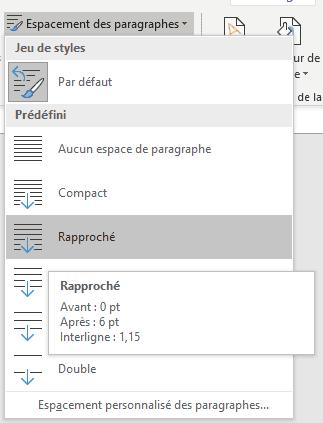 Word - liste espacement des paragraphes