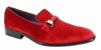 Men's Slip On Suede Lifers With Buckle Red
