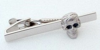 Tie Bar Brushed Face Scalloped Edge Gun Metal Finish