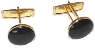 Black Cufflinks Faux Onyx Gold