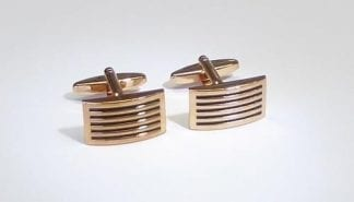 Rose Gold Cufflinks Fiber Optic Center Stone