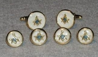Mother-of-Pearl Silver Cuff Links and Studs Set with Screw Rim