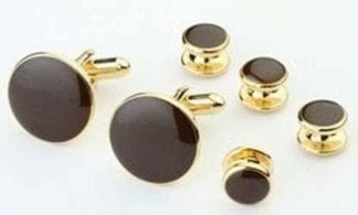 Cufflinks Studs FAUX ONYX CRYSTAL EDGE Cuff Links