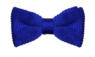 Knit Bow Tie Blue White Polka Dots